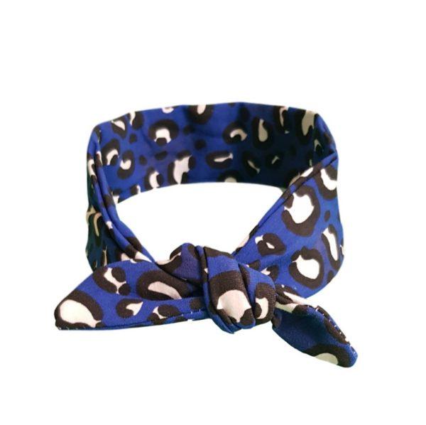 Blue loepard hair wrap